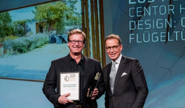 Centor celebrates after being named the best product in the Building & Elements category at the German Design Awards.