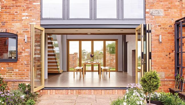 Centor 205 Integrated Folding Doors in a barn conversion