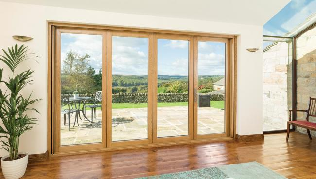 Centor Integrated Folding doors can be specified with European Oak on the interior to help add warmth and texture to your home