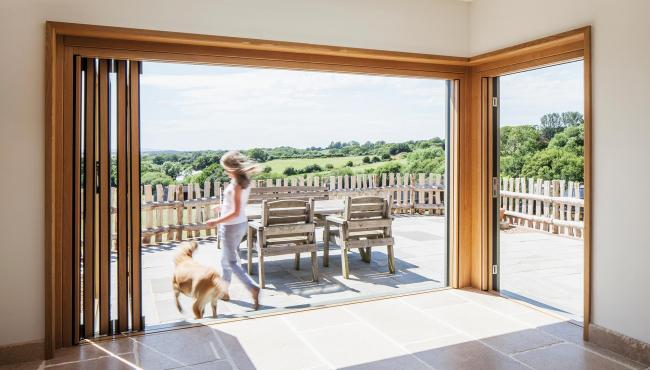 205 Integrated Bifold Door looking out to beautiful views
