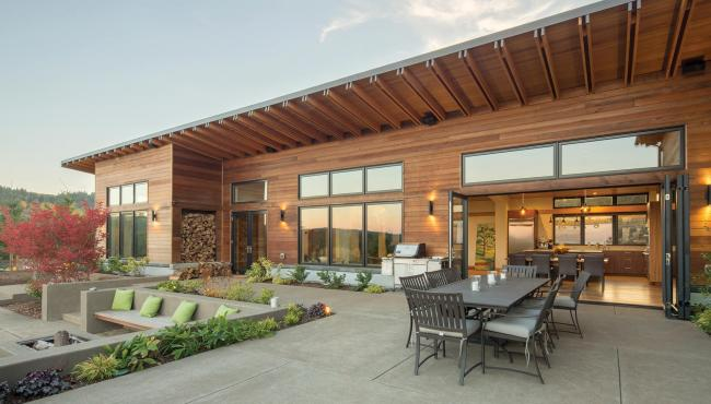 Modern vineyard home with Centor Integrated Doors installed with concealed hardware