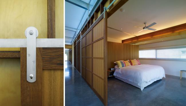 Centor A6 hardware used for sliding barn door for bedroom