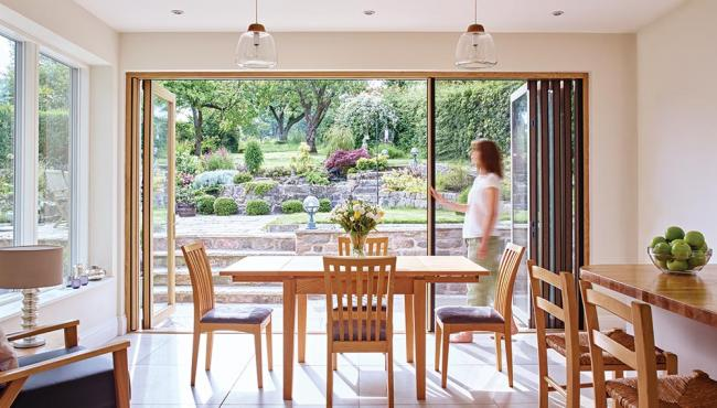 Centor Integrated Folding Door with built-in insect screen