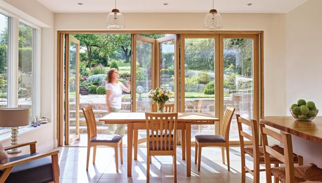 Centor 205 Integrated bifold door with solid timber interior