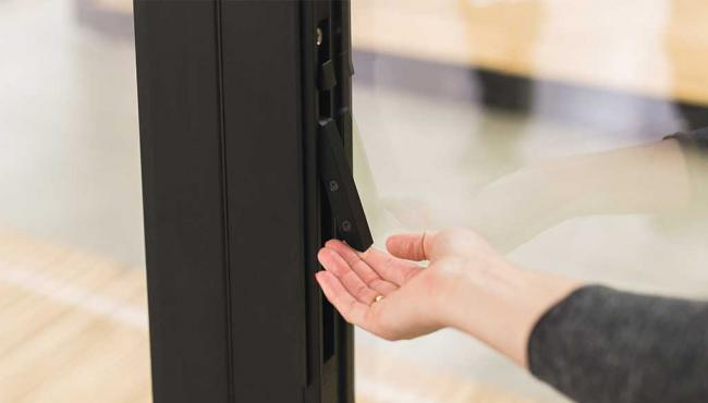 345 bifold door uses Centor's Access AutoLatch instead of the traditional access handle