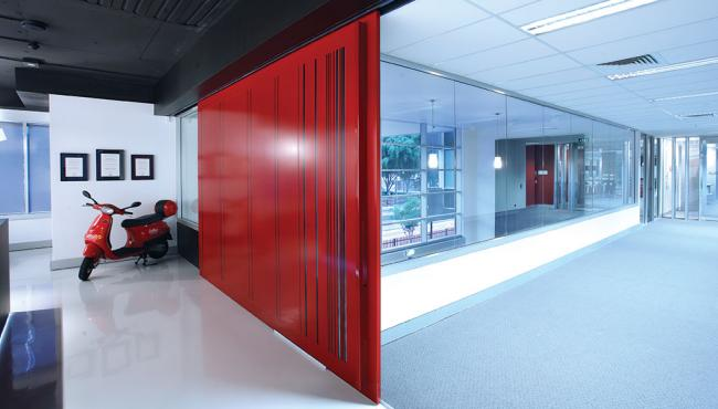 Centor A14 sliding panel hardware used internally for an office space