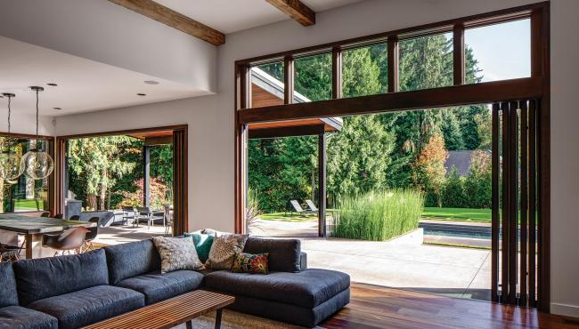 Centor Integrated Folding Doors have a smooth transition between inside and outside