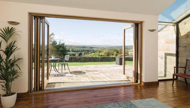 Centor folding doors outlooking magnificent views of the Yorkshire Dales National Park