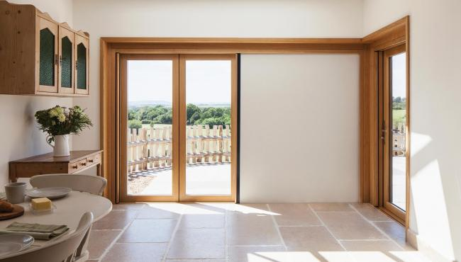205 Integrated Bifold Door with built-in shade for added privacy