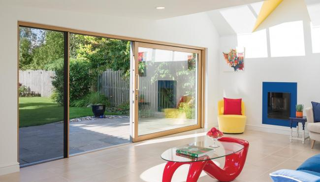 Centor custom sliding doors have a retractable insect screen to keep bugs out