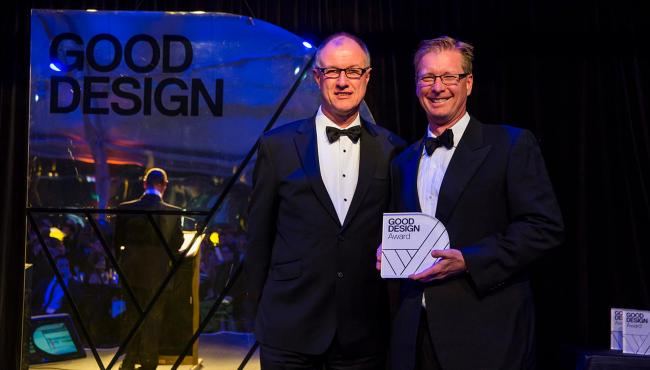 Managing Director Nigel Spork being presented the prestigious Good Design Award