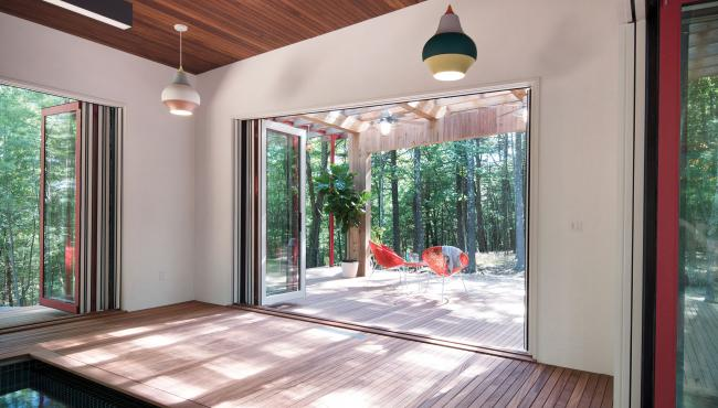 Centor Integrated Folding Doors create a seamless connection to the outside