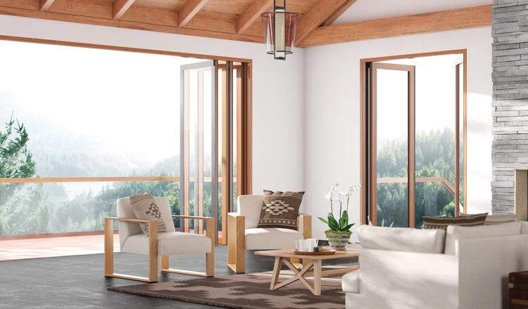 100 Series Doors featuring a solid oak interior and aluminium exterior, with concealed hardware.