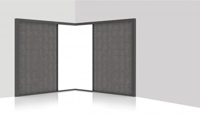 S4 cornerless configuration with double blind fabric