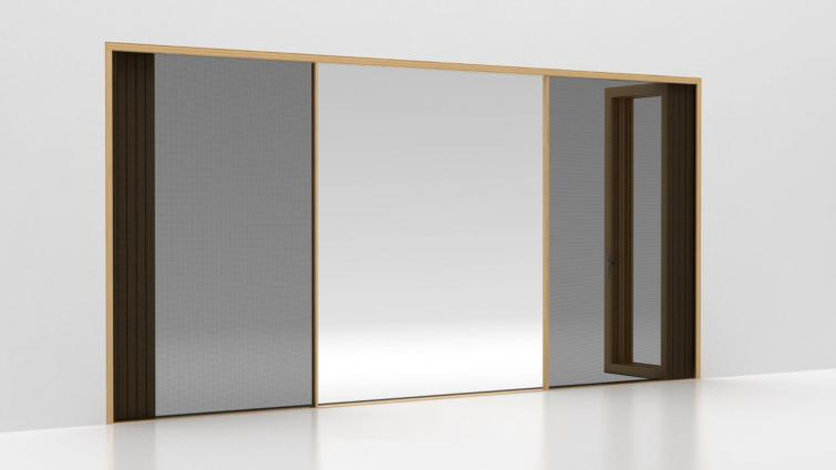 Centor insect screen and blind configurations for bifold doors