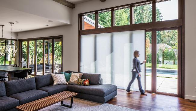 Centor 205 Integrated Folding Door with built-in shade for added privacy