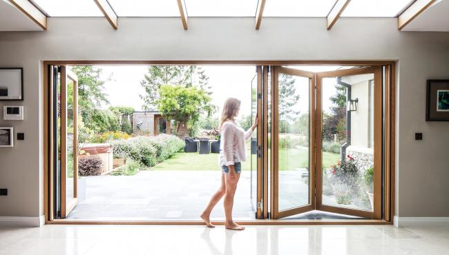 Centor bifold doors have silky smooth hardware for simple and easy operation