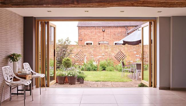 Centor 205 Integrated Folding Door in a barn conversion