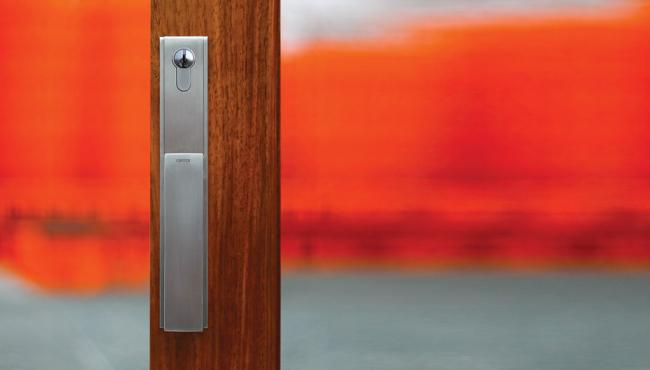 Centor Twinpoint lock operates concealed top and bottom bolts, securing doors in one easy movement.