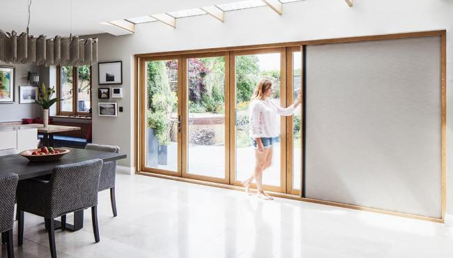 Shades for Centor doors are fully retractable into the door frame